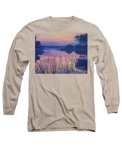 Long Sleeve T-Shirt featuring the painting Chincoteaque Island Sunset by Julie Brugh Riffey