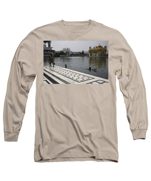 Long Sleeve T-Shirt featuring the photograph Clearing The Sarovar Inside The Golden Temple Resorvoir by Ashish Agarwal