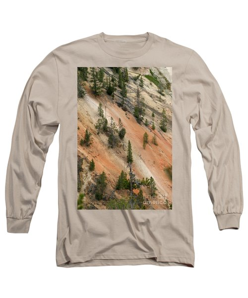 Cliff Side Grand Canyon Colors Vertical Long Sleeve T-Shirt by Living Color Photography Lorraine Lynch