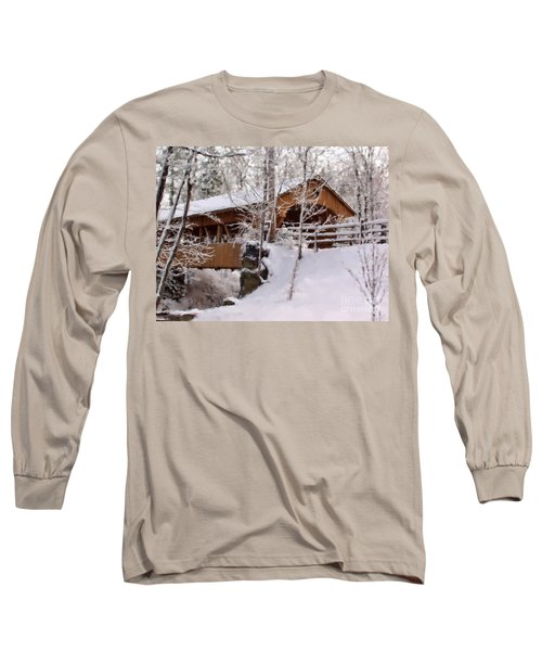 Covered Bridge At Olmsted Falls - 2 Long Sleeve T-Shirt
