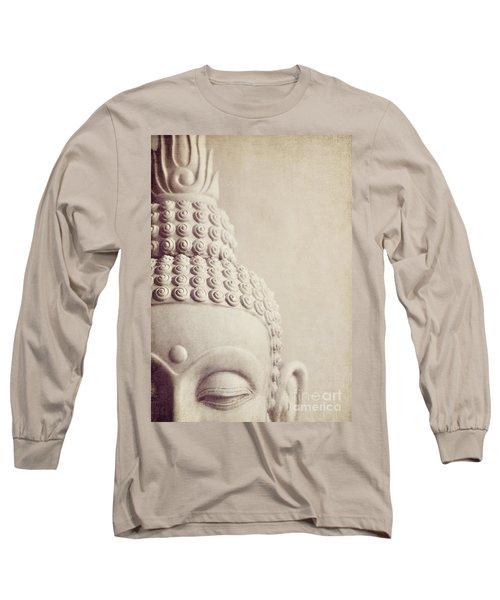 Cropped Stone Buddha Head Statue Long Sleeve T-Shirt