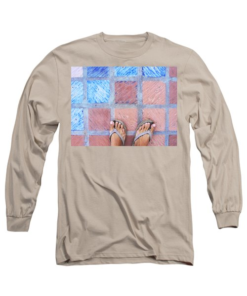 Long Sleeve T-Shirt featuring the photograph Cross-legged On A Colorful Sidewalk by Anne Mott