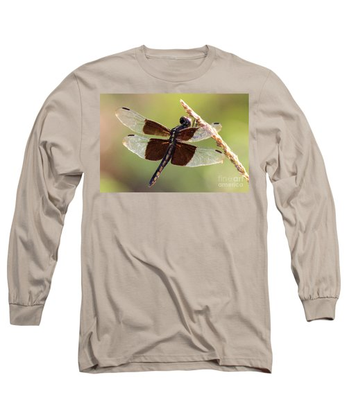 Long Sleeve T-Shirt featuring the photograph Dragonfly Closeup by Kathy  White