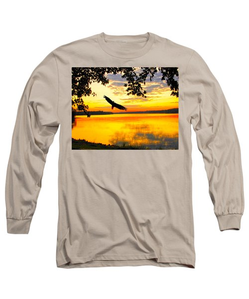 Long Sleeve T-Shirt featuring the photograph Eagle At Sunset by Randall Branham
