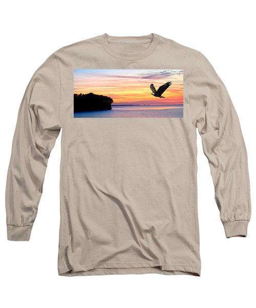 Long Sleeve T-Shirt featuring the photograph Eagle Sunrise by Randall Branham