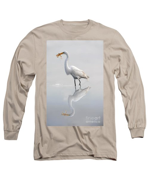 Long Sleeve T-Shirt featuring the photograph Egret Eating Lunch by Dan Friend