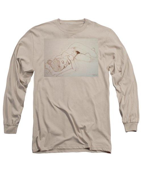 Female Nude Lying Long Sleeve T-Shirt by Rand Swift