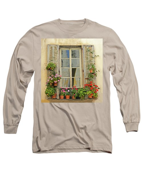 Long Sleeve T-Shirt featuring the photograph Flower Window Provence France by Dave Mills