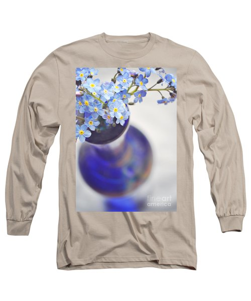 Forget Me Nots In Deep Blue Vase Long Sleeve T-Shirt by Lyn Randle