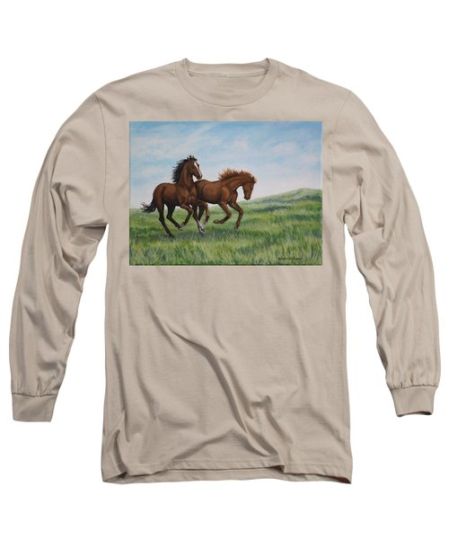 Galloping Horses Long Sleeve T-Shirt by Penny Birch-Williams