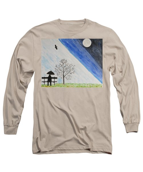 Long Sleeve T-Shirt featuring the painting Girl With A Umbrella by Sonali Gangane