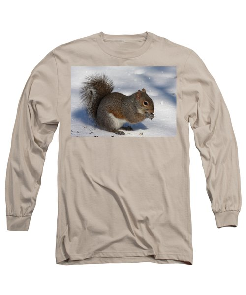 Gray Squirrel On Snow Long Sleeve T-Shirt