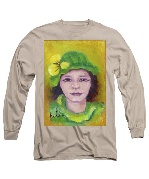Green Hat Face Long Sleeve T-Shirt by Rachel Hershkovitz