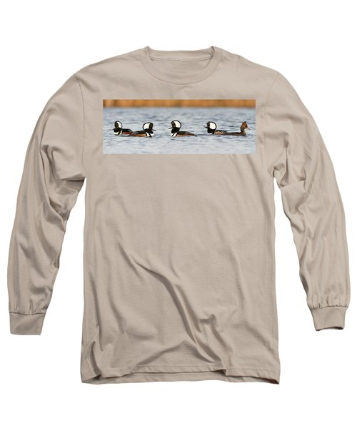 Hooded Mergansers Long Sleeve T-Shirt by Mircea Costina Photography
