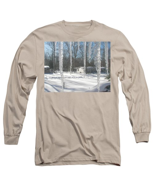 Long Sleeve T-Shirt featuring the photograph Icicles Through The Window Glass by Pamela Hyde Wilson
