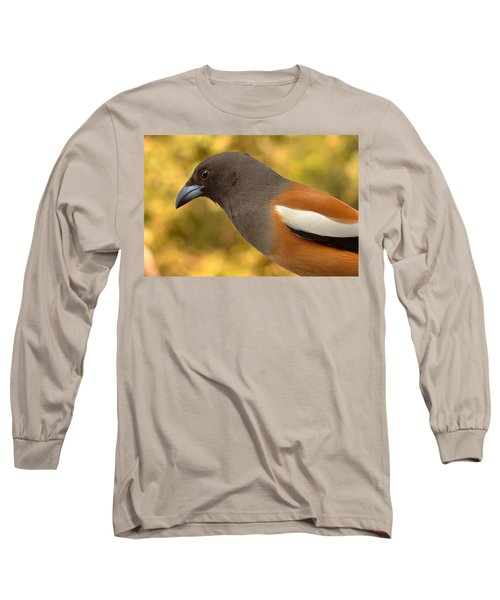 Indian Treepie. A Portrait. Long Sleeve T-Shirt by Fotosas Photography
