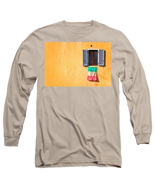 Italian Flag Window And Yellow Wall Long Sleeve T-Shirt