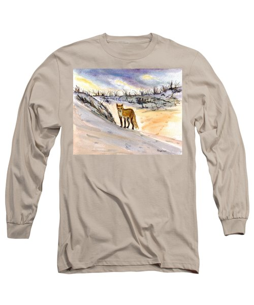 Long Sleeve T-Shirt featuring the painting Jersey Shore Fox by Clara Sue Beym