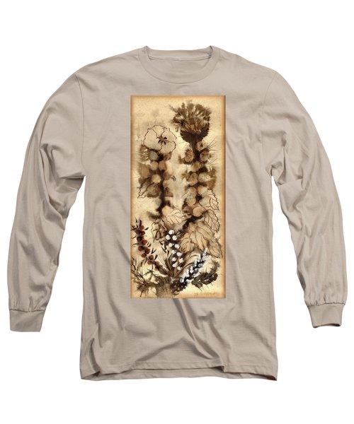 Kotsim Thorny Desert Plants In Brown Flowers Leaves Monochrome White   Long Sleeve T-Shirt by Rachel Hershkovitz