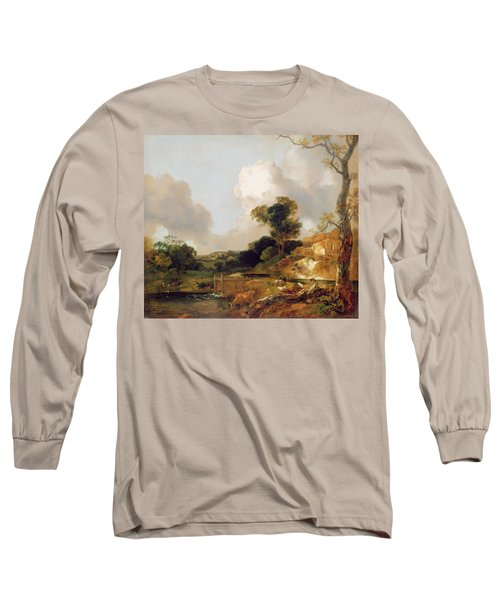 Landscape With Stream And Weir Long Sleeve T-Shirt
