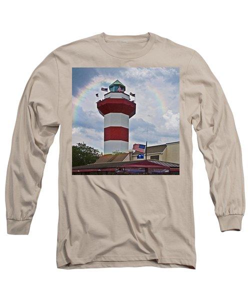 Lighthouse And Rainbow Long Sleeve T-Shirt by Susan Leggett