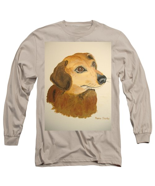 Long Sleeve T-Shirt featuring the painting Lovable Dachshund by Norm Starks