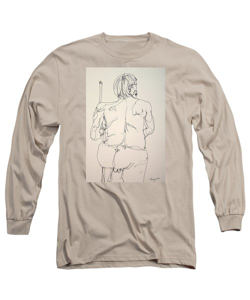 The Naked Man Hiking Long Sleeve T-Shirt by Rand Swift