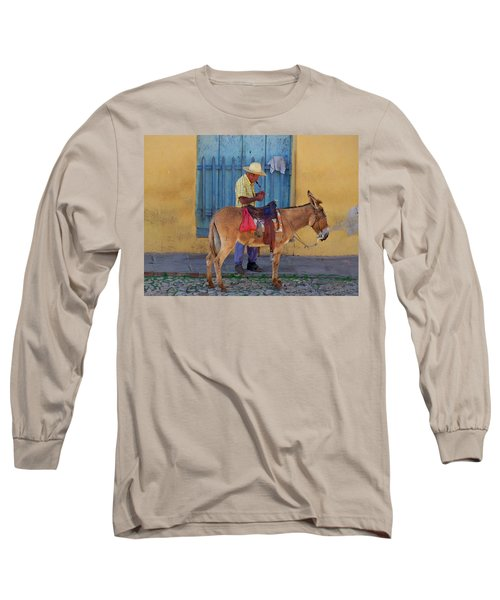 Long Sleeve T-Shirt featuring the photograph Man And A Donkey by Lynn Bolt