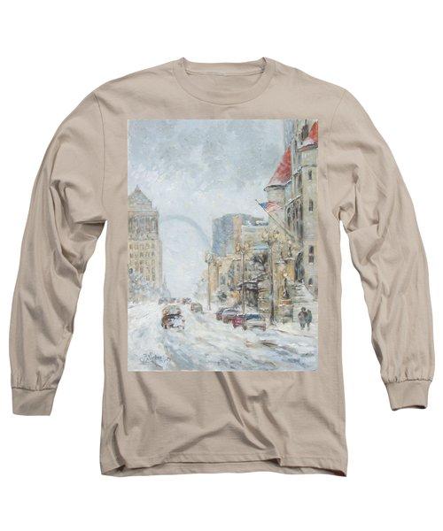 Market Street In Winter In St.louis Long Sleeve T-Shirt