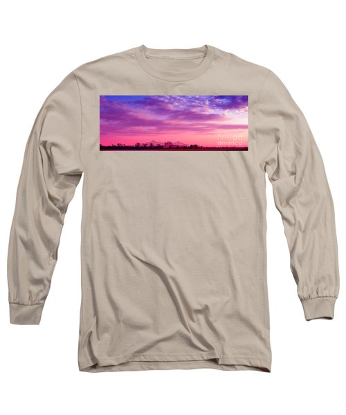 Mississippi River Bridge At Twilight Long Sleeve T-Shirt