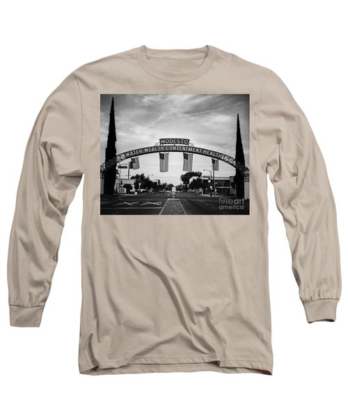 Modesto Arch With Flags Long Sleeve T-Shirt by Jim And Emily Bush