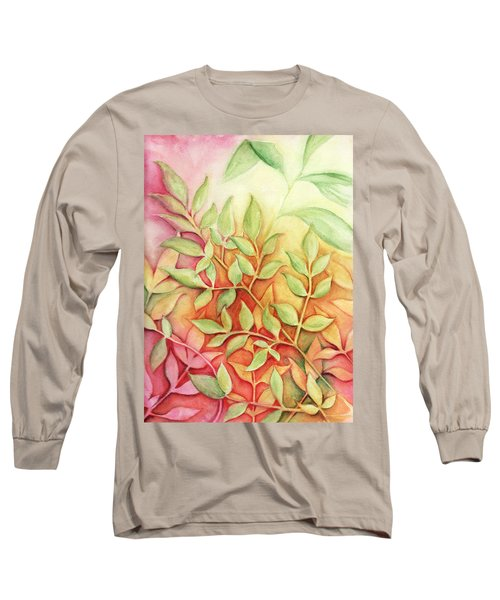 Nandina Leaves Long Sleeve T-Shirt by Carla Parris