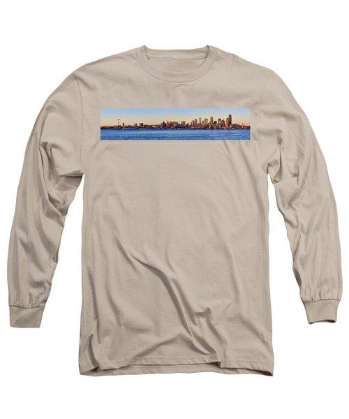 Northwest Jewel - Seattle Skyline Cityscape Long Sleeve T-Shirt by James Heckt
