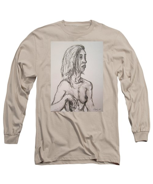 Nude In Washed Graphite Long Sleeve T-Shirt by Rand Swift
