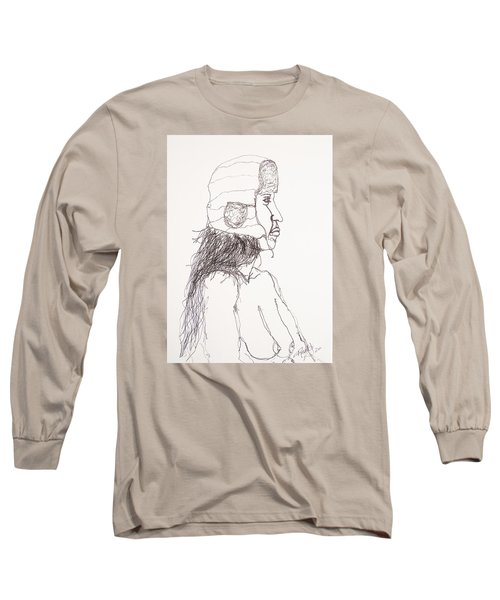Nude With Hat On Bus Long Sleeve T-Shirt by Rand Swift