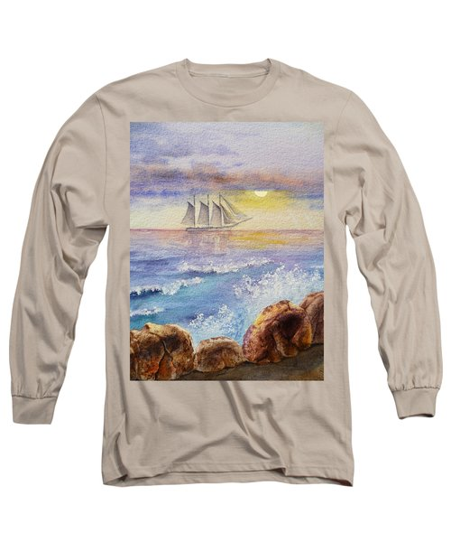 Ocean Waves And Sailing Ship Long Sleeve T-Shirt