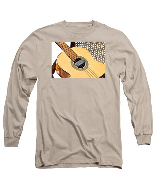 Long Sleeve T-Shirt featuring the photograph Old Guitar In A Chair by Susan Leggett