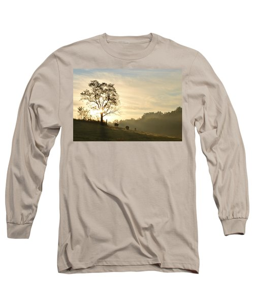 Pasture Sunrise Long Sleeve T-Shirt by JD Grimes
