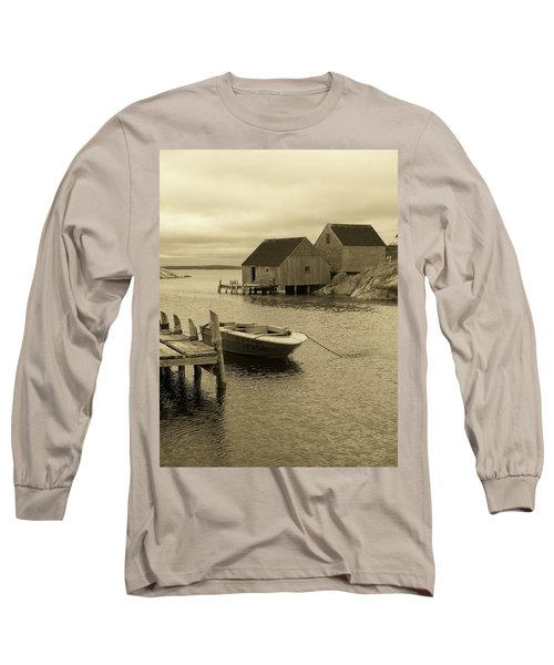 Peggys Cove In Sepia Long Sleeve T-Shirt by Richard Bryce and Family