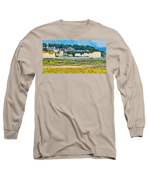 Long Sleeve T-Shirt featuring the digital art Pegwell Bay by Steve Taylor