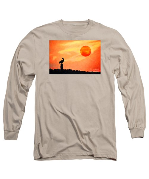 Long Sleeve T-Shirt featuring the photograph Pelican During Hot Day by Dan Friend
