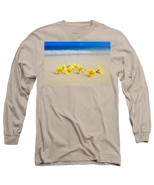 Plumerias On Beach II Long Sleeve T-Shirt by Tomas del Amo