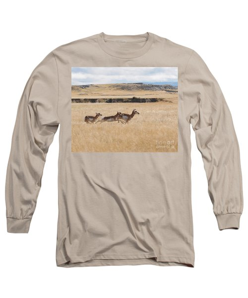 Long Sleeve T-Shirt featuring the photograph Pronghorn Antelopes On The Run by Art Whitton