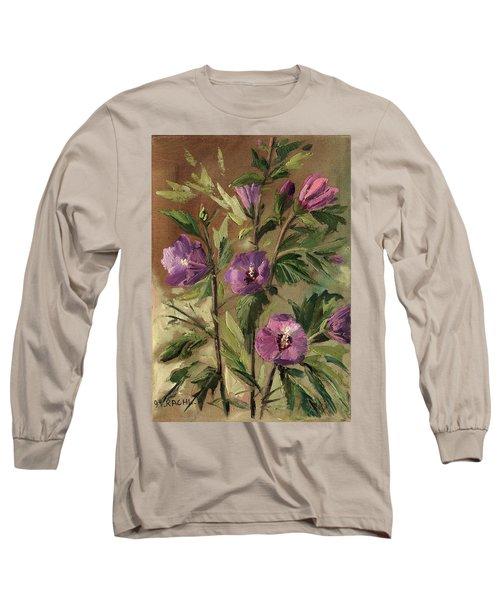 Purple Flowers 2 Long Sleeve T-Shirt by Rachel Hershkovitz