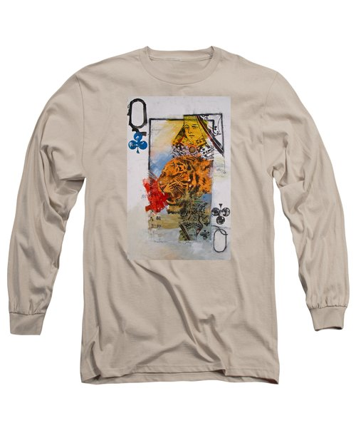 Long Sleeve T-Shirt featuring the painting Queen Of Clubs 4-52  2nd Series  by Cliff Spohn