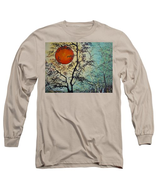 Long Sleeve T-Shirt featuring the painting Red Sun A Red Moon by Dan Whittemore