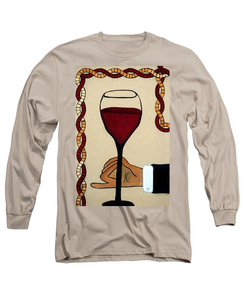 Long Sleeve T-Shirt featuring the painting Red Wine Glass by Cynthia Amaral