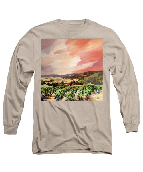 Long Sleeve T-Shirt featuring the painting Rolling Vineyards 2 by Rae Andrews