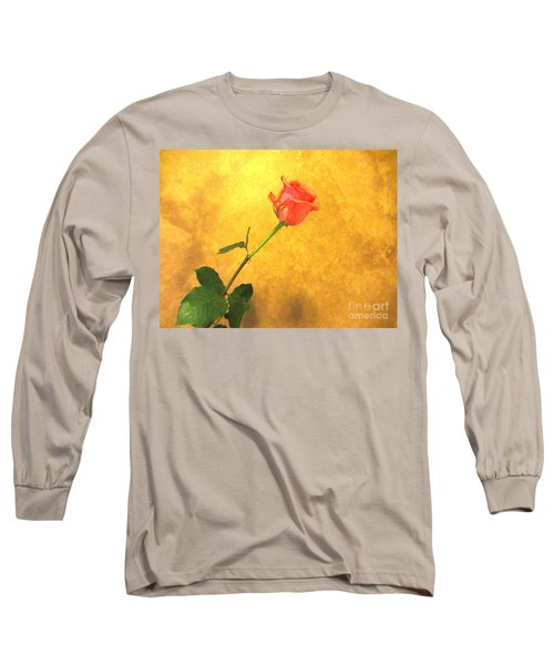 Long Sleeve T-Shirt featuring the photograph Rose On Leather by Susan Carella