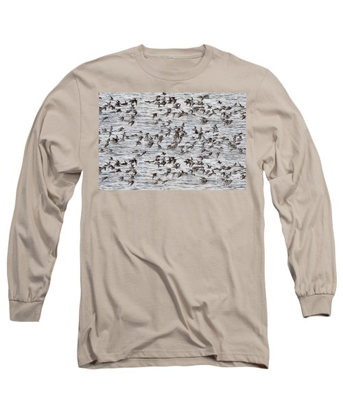 Long Sleeve T-Shirt featuring the photograph Sandpipers In Flight by Dan Friend